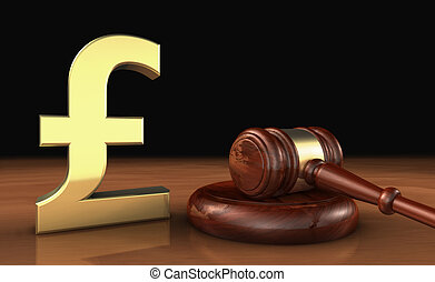 UK Pound Sterling And Law Symbol Cost Of Justice Concept -...
