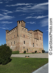 View of the Castle of Grinzane Cavour Unesco heritage in the...