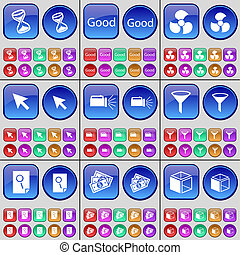 Hourglass, Good, Screw, Cursor, Flashlight, Sprinkle, File, Money, Cube. A large set of multi-colored buttons.