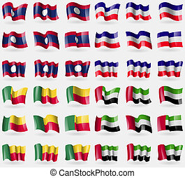 Laos, Los Altos, Benin, United Arab Emirates. Set of 36 flags of the countries of the world.