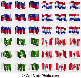 Liechtenstein, Paraguay, Pakistan, Canada. Set of 36 flags of the countries of the world.
