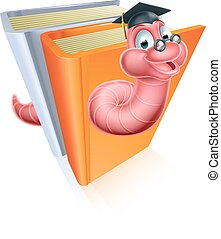 Education bookworm concept of a book worm wearing a mortar...