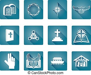 Christian Icon Set - A set of Christian religious icons and...