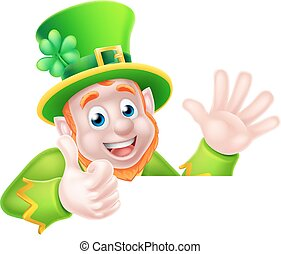 Cartoon Leprechaun Thumbs Up - Leprechaun cartoon St...