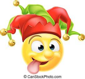 Court Jester Emoji Emoticon - A cartoon court jester clown...