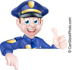 Police Man Sign - A cartoon friendly policeman leaning over...