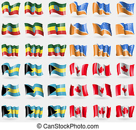 Ethiopia, Tierra del Fuego Province, Bahamas, Canada. Set of 36 flags of the countries of the world.