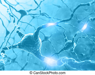 Neuron Energy - Inside the brain. Concept of neurons and...