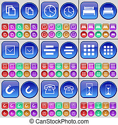 Copy, Clock, Bed, Arrow down, List, Apps, Magnet, Phone, Hourglass. A large set of multi-colored buttons.