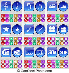 Clef, Five, Transport, Star, Brush, Calendar, Playlist, Files, 3D. A large set of multi-colored buttons.