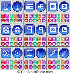 Hourglass, Lock, Socket, Videotape, Nine, RSS, Arrow right, Pencil. A large set of multi-colored buttons.