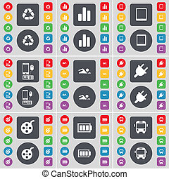Recycling, Diagram, Tablet PC, Smartphone, Swimmer, Socket, Videotape, Battery, Bus icon symbol. A large set of flat, colored buttons for your design.