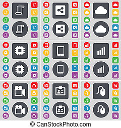 Scroll, Share, Cloud, Processor, Tablet PC, Diagram, Film camera, Contact, Mouse icon symbol. A large set of flat, colored buttons for your design.