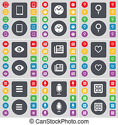 Tablet PC, Clock, Checkpoint, Vision, Newspaper, Heart, Apps, Microphone, Bed-table icon symbol. A large set of flat, colored buttons for your design.