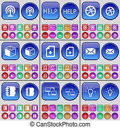 Wi-Fi, Help, Ball, Box, File, Message, Notebook, Connection, Light bulb. A large set of multi-colored buttons.