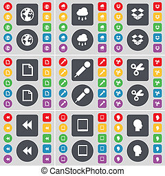 Earth, Cloud, Dropbox, File, Microphone, Scissors, Rewind, Tablet PC, Silhouette icon symbol. A large set of flat, colored buttons for your design.