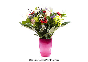 Bouquet flowers - Bouquet of flowers in a pink vase isolated...