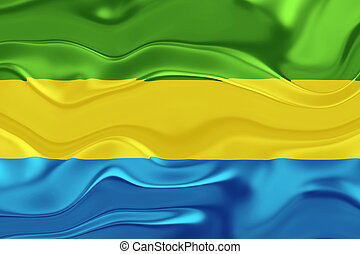 Flag of Gabon wavy - Flag of Gabon, national country symbol...