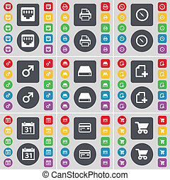 LAN socket, Printer, Compass, Mars symbol, Hard drive, File, Calendar, Credit card, Shopping cart icon symbol. A large set of flat, colored buttons for your design.