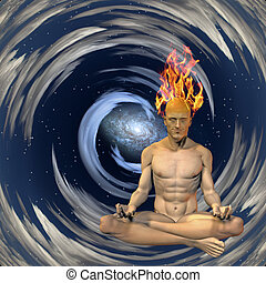 Burning mind - Meditation man with burning mind