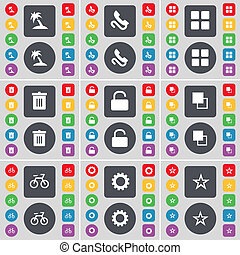 Palm, Receiver, Apps, Trash can, Lock, Copy, Bicycle, Gear, Star icon symbol. A large set of flat, colored buttons for your design.