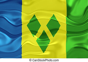 Flag of Saint Vincent and Grenadines wavy
