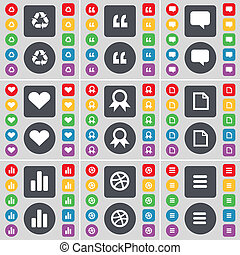 Recycling, Quotation mark, Chat bubble, Heart, Medal, File,...
