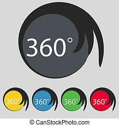Botões, ângulo, colorido, geometria, Símbolo, sinal, Rotação, cheio, graus,  360, jogo, ícone, matemática
