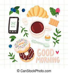 Good morning, breakfast vector illustration