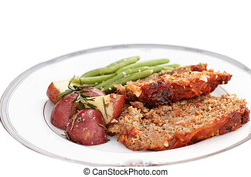 Meatloaf Dinner - Meatloaf dinner with roasted red potatoes...