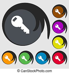 Key sign icon. Unlock tool symbol.. Symbols on eight colored buttons.
