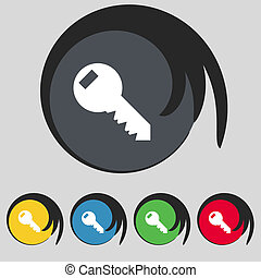 Key sign icon. Unlock tool symbol. Set of colored buttons.
