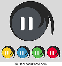 pause icon sign. Symbol on five colored buttons....