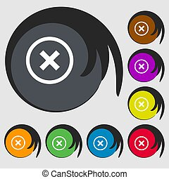 Cancel icon. no sign. Symbols on eight colored buttons.