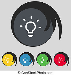 Light lamp, Idea icon sign. Symbol on five colored buttons....