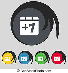 Plus one, Add one icon sign. Symbol on five colored buttons.