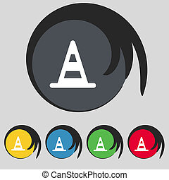 road cone icon sign Symbol on five colored buttons...