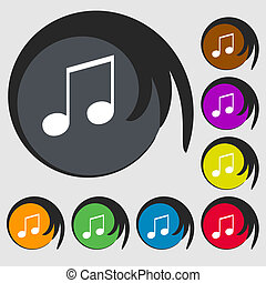 musical note, music, ringtone icon sign. Symbol on eight...