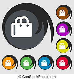 shopping bag icon sign Symbol on eight colored buttons...