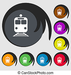 train icon sign Symbol on eight colored buttons illustration...