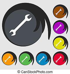 wrench icon sign Symbol on eight colored buttons...