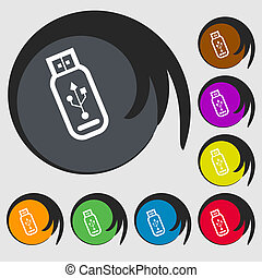 Usb flash drive icon sign Symbol on eight colored buttons...