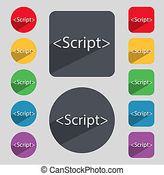 Script sign icon. Javascript code symbol. Set of colored...