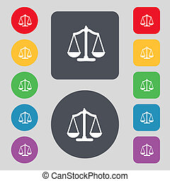 Scales of Justice sign icon. Court law symbol. Set colourful buttons.