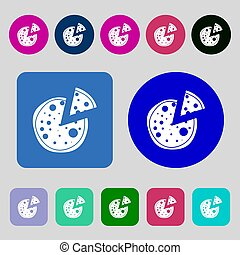 Pizza Icon 12 colored buttons Flat design - Pizza Icon12...