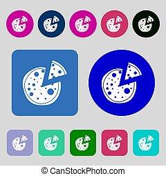 Pizza Icon. 12 colored buttons. Flat design. - Pizza Icon.12...