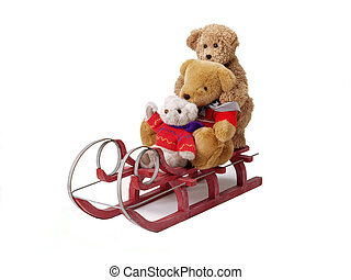 teddy bears on a sleigh - 3 teddy bears sitting on a red...