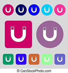magnet sign icon horseshoe it symbol Repair sig 12 colored...