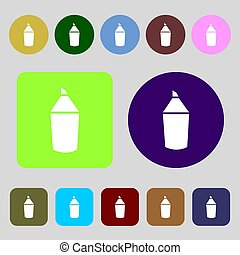 Pencil sign icon Edit content button 12 colored buttons Flat...