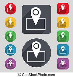 mapa, indicador, icono, signo., Un, Conjunto, de, 12,...